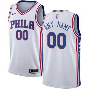 Maillot Personnalisé Basket 76ers Nike Blanc Association Edition Homme