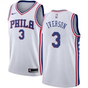 Nike NBA Maillot De Iverson Philadelphia 76ers Homme No.3 Blanc Association Edition