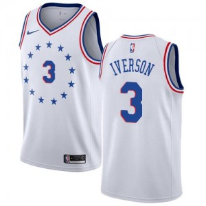 Nike NBA Maillots Allen Iverson Philadelphia 76ers #3 Earned Edition Blanc Homme