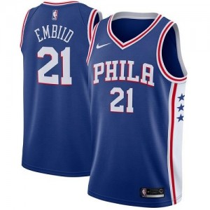 Nike Maillots Embiid Philadelphia 76ers #21 Homme Icon Edition Bleu