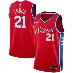 Maillot Embiid 76ers Rouge Nike Homme Statement Edition No.21