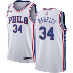 Maillot Basket Charles Barkley 76ers Nike Association Edition Homme #34 Blanc