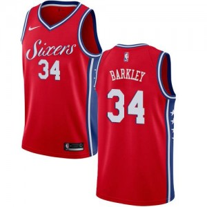 Nike Maillots De Basket Charles Barkley 76ers Homme No.34 Statement Edition Rouge