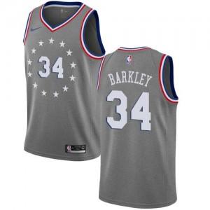 Nike Maillot De Barkley 76ers #34 City Edition Gris Homme