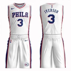 Nike Maillots Basket Allen Iverson Philadelphia 76ers No.3 Enfant Blanc Suit Association Edition