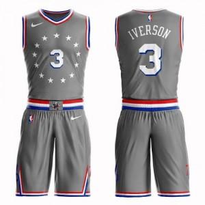 Nike Maillots De Iverson 76ers Enfant Suit City Edition #3 Gris