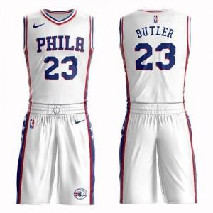 Maillot De Butler Philadelphia 76ers #23 Homme Blanc Suit Association Edition Nike