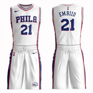 Nike Maillots Embiid Philadelphia 76ers Suit Association Edition Homme No.21 Blanc