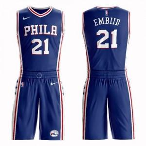 Maillots De Basket Embiid Philadelphia 76ers Homme Nike No.21 Suit Icon Edition Bleu