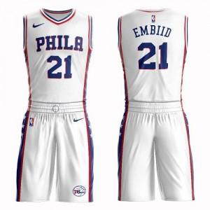 Maillots De Embiid 76ers Blanc Suit Association Edition Enfant #21 Nike