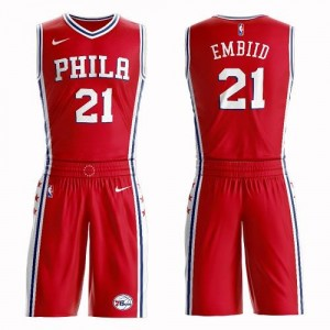 Nike Maillots Embiid 76ers Suit Statement Edition Rouge Enfant #21