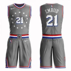 Nike NBA Maillot De Joel Embiid 76ers Homme Gris No.21 Suit City Edition