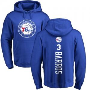 Sweat à capuche Barros 76ers Nike Homme & Enfant No.3 Pullover Bleu royal Backer