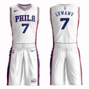 Nike NBA Maillots De Timothe Luwawu Philadelphia 76ers No.7 Blanc Suit Association Edition Enfant
