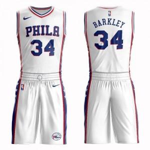 Nike NBA Maillots Barkley Philadelphia 76ers No.34 Blanc Homme Suit Association Edition