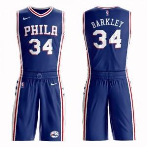 Nike NBA Maillots De Basket Charles Barkley Philadelphia 76ers #34 Homme Suit Icon Edition Bleu