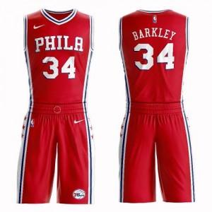 Nike NBA Maillots Basket Charles Barkley Philadelphia 76ers Rouge Homme No.34 Suit Statement Edition