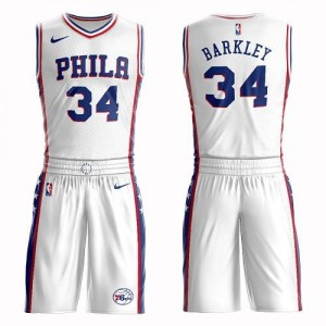 Nike Maillots Basket Charles Barkley Philadelphia 76ers No.34 Blanc Suit Association Edition Enfant