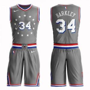Nike Maillots Charles Barkley Philadelphia 76ers Enfant Gris #34 Suit City Edition