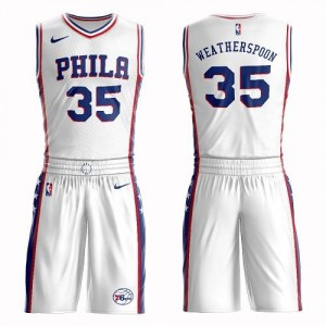 Nike Maillots Basket Clarence Weatherspoon 76ers No.35 Enfant Blanc Suit Association Edition