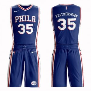 Nike NBA Maillots Basket Weatherspoon 76ers Bleu Enfant Suit Icon Edition No.35