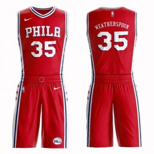 Nike NBA Maillot De Basket Clarence Weatherspoon 76ers No.35 Rouge Enfant Suit Statement Edition