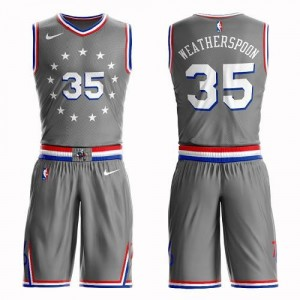 Maillots Basket Weatherspoon Philadelphia 76ers Gris No.35 Nike Homme Suit City Edition