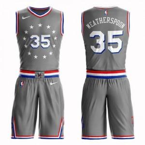 Nike NBA Maillot De Clarence Weatherspoon Philadelphia 76ers Gris Suit City Edition No.35 Enfant