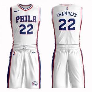 Maillots De Chandler Philadelphia 76ers Suit Association Edition No.22 Blanc Nike Enfant