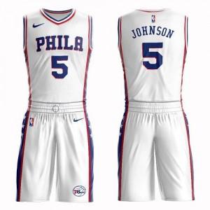 Nike Maillots Basket Johnson Philadelphia 76ers Homme Suit Association Edition No.5 Blanc