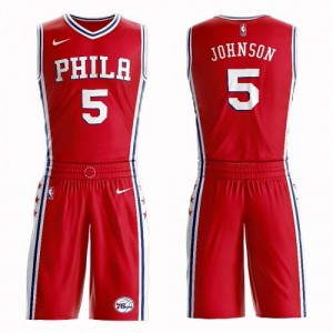 Maillot Johnson 76ers Nike Suit Statement Edition Homme Rouge No.5
