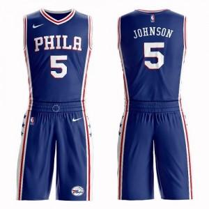 Nike Maillot Basket Amir Johnson 76ers No.5 Enfant Bleu Suit Icon Edition