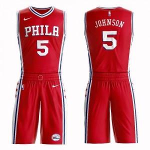 Nike NBA Maillots Amir Johnson 76ers Rouge Suit Statement Edition Enfant #5