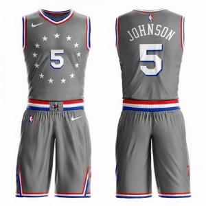 Nike Maillots De Basket Amir Johnson Philadelphia 76ers #5 Suit City Edition Gris Enfant