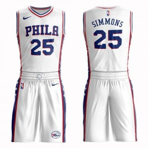 Nike NBA Maillot Basket Simmons Philadelphia 76ers Suit Association Edition No.25 Homme Blanc