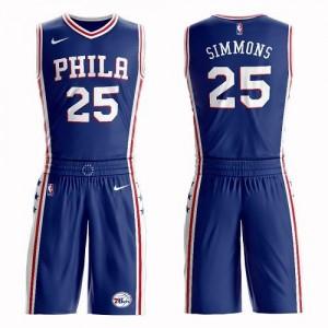 Nike NBA Maillots De Basket Ben Simmons 76ers #25 Bleu Homme Suit Icon Edition