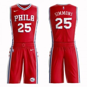 Maillot Basket Ben Simmons 76ers #25 Rouge Homme Nike Suit Statement Edition