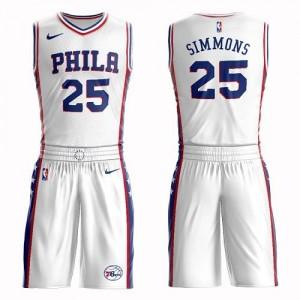 Maillots De Ben Simmons 76ers Blanc Suit Association Edition Enfant #25 Nike