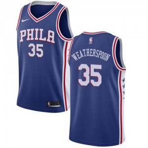 Nike NBA Maillots Basket Weatherspoon 76ers No.35 Icon Edition Homme Bleu