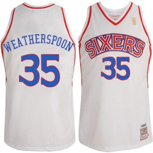 Mitchell and Ness NBA Maillots De Weatherspoon 76ers Homme #35 Blanc Throwback