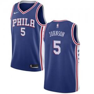 Nike Maillots Basket Amir Johnson Philadelphia 76ers No.5 Homme Bleu Icon Edition