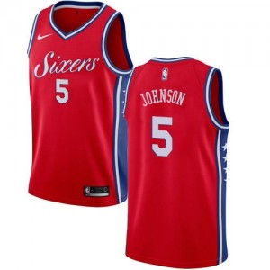 Nike Maillots De Basket Johnson 76ers Rouge Homme #5 Statement Edition