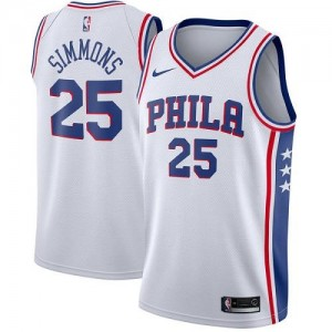 Maillots Basket Simmons 76ers Nike Blanc Association Edition No.25 Homme