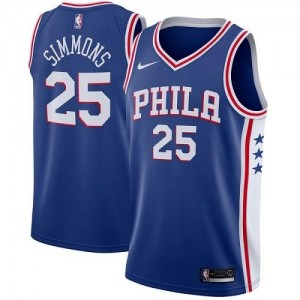 Nike Maillot Basket Ben Simmons 76ers Homme Bleu Icon Edition No.25