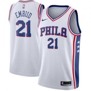 Maillot Embiid 76ers Blanc No.21 Nike Enfant Association Edition