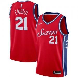 Maillots De Joel Embiid Philadelphia 76ers Statement Edition Nike #21 Rouge Enfant