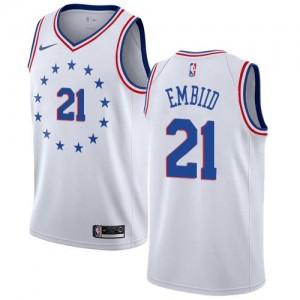 Maillots Basket Joel Embiid 76ers Earned Edition Nike Enfant Blanc #21