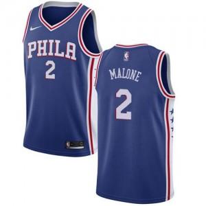 Nike NBA Maillots De Moses Malone Philadelphia 76ers Bleu Enfant No.2 Icon Edition
