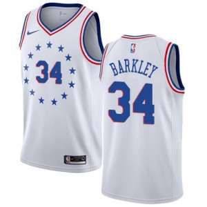 Nike Maillot Charles Barkley Philadelphia 76ers No.34 Blanc Enfant Earned Edition