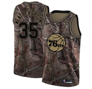 Nike Maillots Basket Weatherspoon Philadelphia 76ers Homme No.35 Camouflage Realtree Collection
